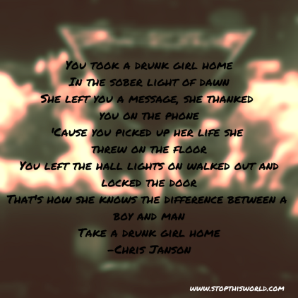 Lyrics from country music artist Chris Janson